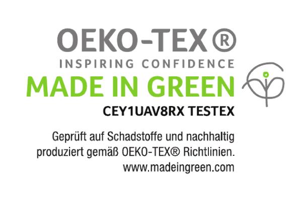 Crestyle | MADE IN GREEN Logo mit Testex Prüfnummer